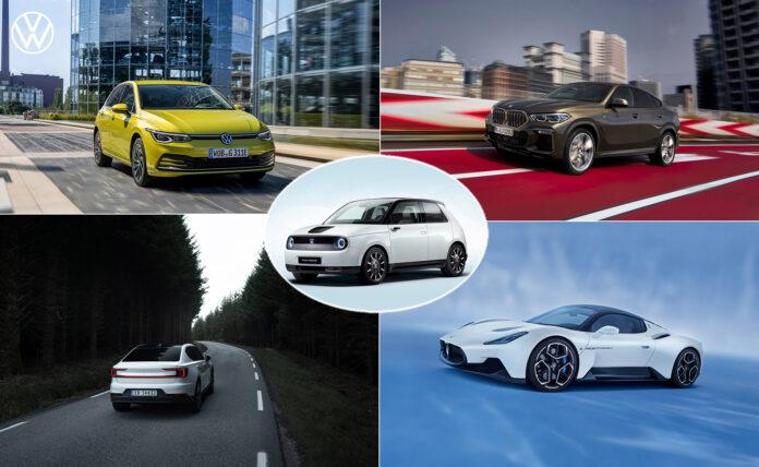 Det finnes en egen kvinnekåring av årets bil, og her av fem av bilene som har tatt seg til finalen. Øverst fra venstre VW ID.3, BMW X6, Polestar 2, Maserati MC20 og i midten Honda e. (Foto: Honda/VW/Polestar/Maserati/BMW)