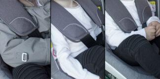Kun et av disse tre sammensatte bildene viser korrekt sikring av barn på vintertid, nemlig den til høyre. (Foto: BeSafe)