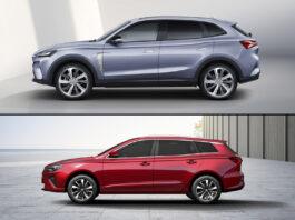 MG viser like godt fram to nye elbilmodeller, SUV-modellen MG Marvel Electric (øverst) og stasjonsvognen MG5 Electric. (Fotos: MG)