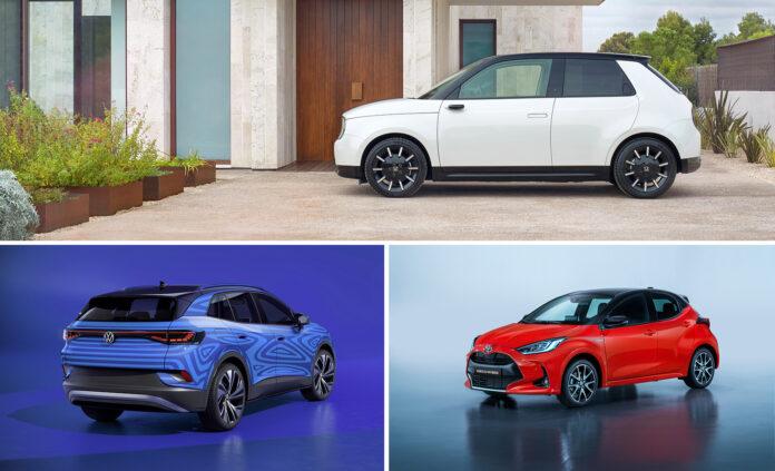 Denne trioen kjemper om å bli årets bil i verden 2021. (Foto: Honda/Volkswagen/Toyota)