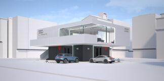 Audi skal teste ut et konsept med fleksible lade-lounger kombinert med lynlading. (Fotos: Audi)