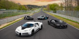 Bugatti har luftet fire svært så potente og imponerende hyperbiler på Nordschleife, Divo, Chiron Pur Sport, Centodieci og Chiron Super Sport 300+. (Fotos: Bugatti)