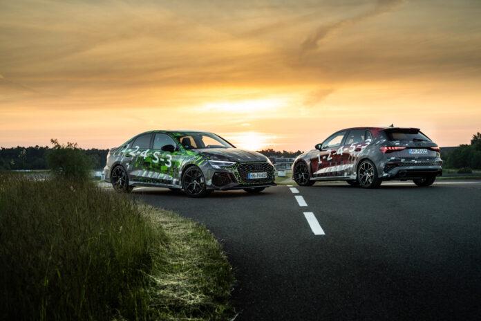 Audi viser nå fram en prototype av kommende RS 3, en bil som blir lynrask også rundt en bane. (Fotos: Audi)