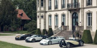 Et firkløver verden aldri har sett maken til. Her er alle fire dagens Super Sport-bilene fra franske Bugatti. (Fotos: Bugatti)