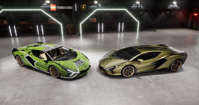 Her er en Lego og en ekte Lamborghini Sián, og de er ganske så like. (Fotos: Lego)