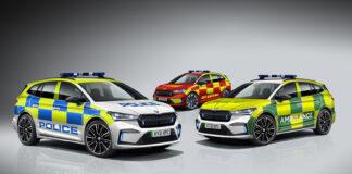 Skoda i Storbritannia ser ingen grunner til at Enyaq ikke skal fungere som en utrykningsbil, og har snart klart tre uniformskledde utgaver. (Fotos: Skoda)