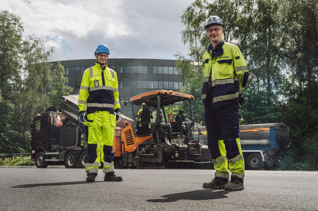 Erik Grimm-Strømme, distriktssjef Skanska Industrial Solutions og Eilev Lilleland, prosjektleder for innledende fase av E18 Vestkorridoren