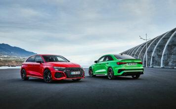 Audi viser nå fram den nye utgaven av den lille raketten RS 3 som kommer både som Sportback og Sedan. (Fotos: Audi)