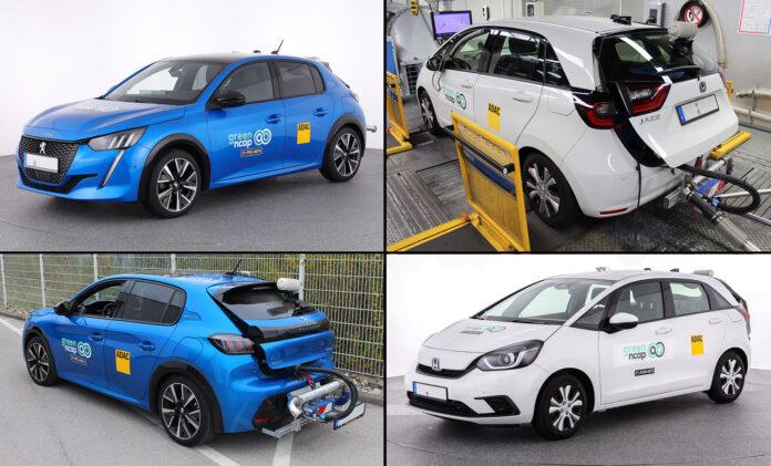 Både Peugeot 208 (t.v.) og Honda Jazz klarte seg godt da de ble testet for utslippsgasser. (Fotos: Green NCAP)