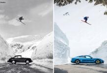 Her rekonstruerer Porsche et ikonisk bilde. Og det er ingen ringere enn Aksel Lund Svindal som flyr over en Porsche Taycan Turbo. (Foto: Porsche)