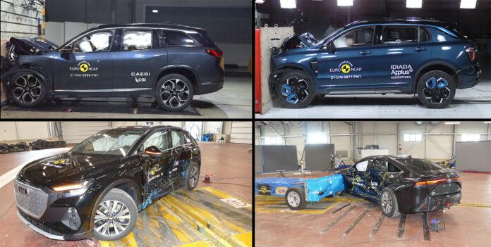 Euro NCAP har testet fire elektrifiserte biler, og både Nio ES8 (oppe til venstre), Lynk & Co 01 (oppe til høyre), Audi Q4 e-tron (nede til venstre) og Toyota Mirai (nede til høyre) oppnådde 5 stjerner. (Foto: Euro NCAP)