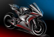 Her er en skisse av det som skal bli Ducatis første elektriske motorsykkel. (Foto: Ducati)