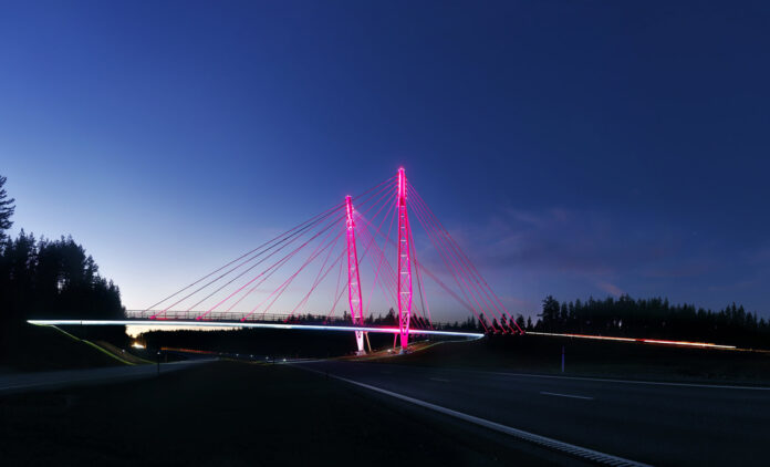 Kolomoen bru blir rosa også oktober 2021. (Foto: Jens Haugen, Kreftforeningen/Statens vegvesen)